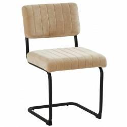 Chaise Danny Beige Athezza Assise Siège de Table en Métal et Tissu 49,5x56x86,5cm