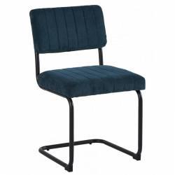 Chaise Danny Cannage Bleue Canard Athezza Assise Siège de Table en Métal Bois et Tissu 42x42x84cm
