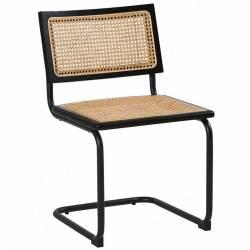 Chaise Danny Cannage Gold Athezza Assise Siège de Table en Métal Bois et Tissu 42x42x84cm