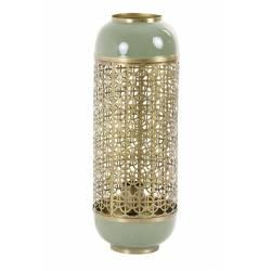 Lampe de Table ROHIT Luminaire d'Appoint en Métal Vert Olive et Doré 17x17x44cm