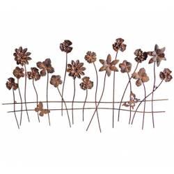 Grille Fleurie Décoration de Jardin Fleurs à Piquer en Métal Patiné 0,5x52x93cm