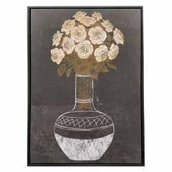 Tableau Vase Fleurs Athezza Impression sur Toile Décoration Murale Fond Noir 4,3x50x70cm