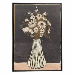 Tableau Marguerites Roses Athezza Impression sur Toile Décoration Murale Fond Noir 4,3x54x74cm