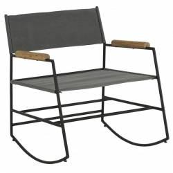 Fauteuil à Bascule Edmond Rocking Chair Design Athezza en Bois Métal et Tissu Gris 60x73x76cm