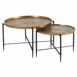 Lot de 2 Tables Basses Marque Hanjel Consoles d'appoint Dessertes avec Plateau en Métal Cuivré et Emaillé
