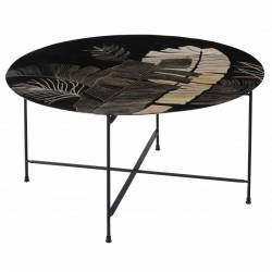 Grande Table Basse Listy Athezza Console de Salon Table d'Appoint en Bois Gravé et Métal Noir 45x90x90cm