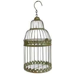 Grande Cage à Oiseaux Cylindrique ou Volière Décorative Ronde en Fer Patiné Vert 18,5x18,5x44cm