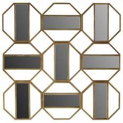 Miroir Jacob Athezza Décoration Design Moderne 9 Glaces Rectangulaires en Métal Doré 3,5x87,5x87,5cm
