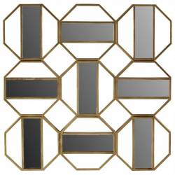 Miroir Milano Athezza Décoration Design Moderne 9 Glaces Losanges en Métal Doré 3,5x83x83cm