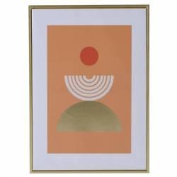 Toile Pendolo 2 Demi Cercles Fond Orange Athezza Cadre Décoratif Mural Affiche Design Contour Bois Doré 4x50x70cm