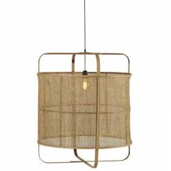 Suspension Menot Quadré Athezza Luminaire Plafonnier en Bambou et Rotin Tressé 70x70x80cm