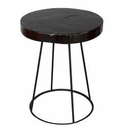 Table d'Appoint Kraton Sellette Bout de Canapé Console Ronde Guéridon en Teck Naturel Laqué Marron Chocolat et Métal 40x40x50cm