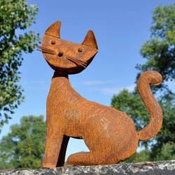 Statue de Chat Représentation de Félin Décoration de Jardin en Acier Oxydé 7x19x26,5cm