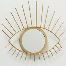 Miroir Oeil Décoration Murale Glace Ronde Motif Yeux en Métal Doré 2x28x30cm