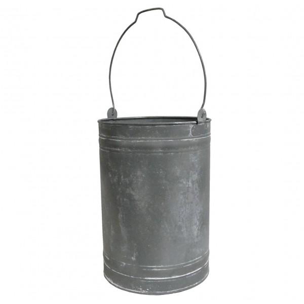 Petit Seau Laitière Porte Parapluie Poubelle Pot de Laitier Façon Zinc 27x63cm