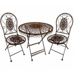 Salon de Jardin Salon de Thé 2 Places Personnes Table Bistrot et 2 Chaises Pliantes en Métal et Fonte Marron