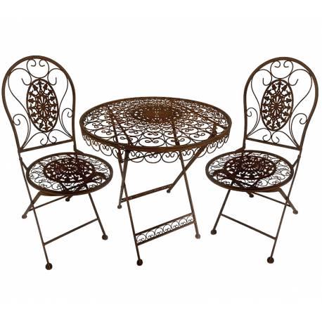 Salon de Jardin Salon de Thé 2 Places Personnes Table Bistrot et 2 Chaises Pliantes en Fer & Fonte Blanc