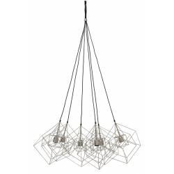 Suspension 6 Lampes KUBINKA Luminaire Eclairage Moderne à Suspendre Géométrique Métal Patiné Gris Argent 85x85x145cm