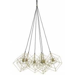 Suspension 6 Lampes KUBINKA Luminaire Eclairage Moderne à Suspendre Géométrique Métal Patiné Bronze Antique 85x85x145cm