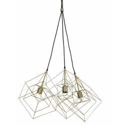 Suspension 3 Lampes KUBINKA Luminaire Eclairage Moderne à Suspendre Géométrique Métal Patiné Bronze Antique 40x40x145cm