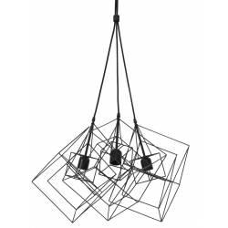 Suspension 3 Lampes KUBINKA Luminaire Eclairage Moderne à Suspendre Géométrique Métal Patiné Noir Mat 40x40x145cm