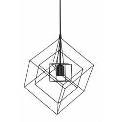 Suspension Minimaliste Lampe KUBINKA Luminaire Eclairage Moderne à Suspendre Géométrique Métal Patiné Noir Mat 25x25x145cm