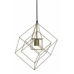 Suspension Minimaliste Lampe KUBINKA Luminaire Eclairage Moderne à Suspendre Géométrique Métal Patiné Bronze Atique 25x25x145cm