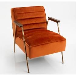 Fauteuil Hutch Amadeus Assise Siège de Salon en Bois Métal et Velours Orange 60x73x73cm