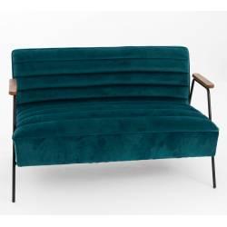 Fauteuil Double Hutch Amadeus Canapé Sofa en Bois Métal et Velours Bleu 73x76x123cm