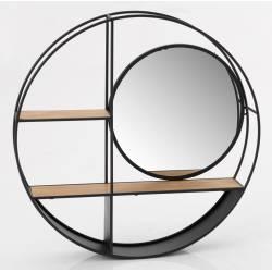 Etagère Ronde Niko Amadeus Support Mural avec Miroir Circulaire en Métal et Bois 12x72x72cm