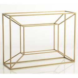 Console Cubique Amadeus Table d'Appoint Motif Géométrique en Métal et Verre 35x80x110cm