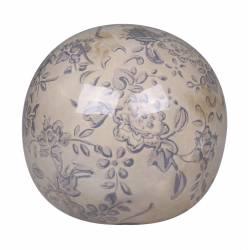 Boule Décorative Sphère Objet Déco à Poser en Céramique Blanche Motif Baroque Bleu Ø 9cm