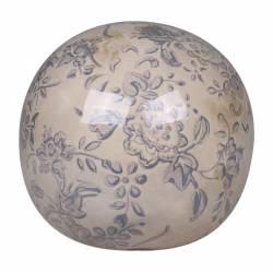 Magnifique Petite Boule Décorative Sphère Objet Déco à Poser en Terre Cuite Emaillée Blanche Motif Floral Bleu Ø10cm