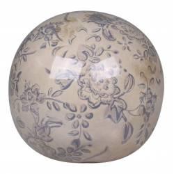 Boule Décorative Sphère Objet Déco à Poser en Céramique Blanche Motif Baroque Bleu Ø 12cm
