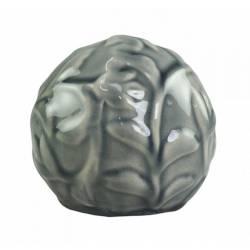 Magnifique Petite Boule Décorative Sphère Objet Déco à Poser en Céramique Vert Olive à Relief Ø10cm