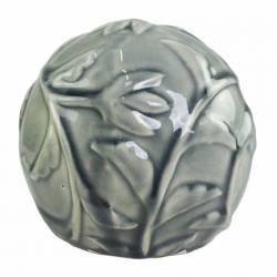 Magnifique Boule Décorative Sphère Objet Déco à Poser en Céramique Vert Olive à Relief Ø12cm