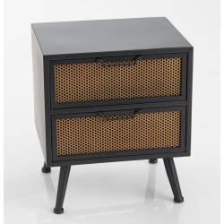 Bout de Canapé Grillage Amadeus Table de Chevet Console 2 Tiroirs en Métal Noir et Marron 36x44x51cm