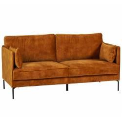 Canapé Moven Moutarde 2 Places Athezza Sofa Fauteuil de Salon Tissu et Métal 85x88x168cm