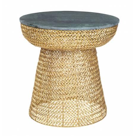 Set de 2 Tables Basses CIRCUS Tables Rondes Tendances Marque Hanjel Bout de Canapé Verre et Métal Patiné Or 61x62x62cm