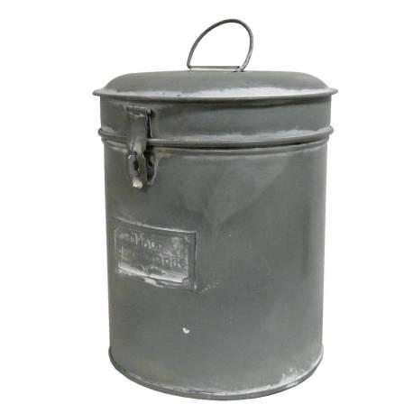Grande Boîte à Epices Bocal Rond Cylindrique Pot de Rangement Métallique Zinc 17x17x25cm