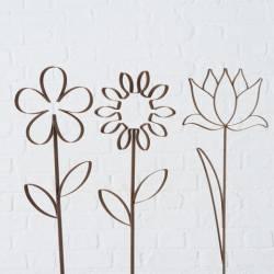 Lot de 3 Décorations de Jardin Florales Fleurs sur Tige à Piquer dans Massif Pot de Fleur Métal Marron 2x15x56cm