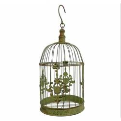 Grande Cage à Oiseaux Décorative à Poser ou Volière Ronde à Suspendre en Fer Patiné Vert 19x19x43cm