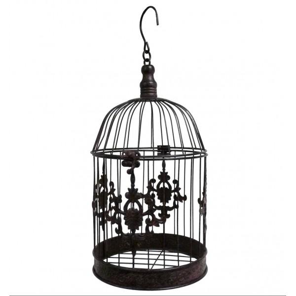 Grande Cage à Oiseaux Décorative à Poser ou Volière Ronde à Suspendre en Fer Patiné Marron 19x19x43cm