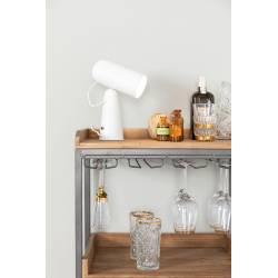 Lampe de Bureau Vesper Blanc Woody Luminaire de Table avec Tête Amovible et Réglable en Métal 8,5x18,5x26,5cm