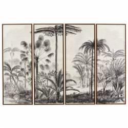 Toile Palmiers Athezza Set de 4 Tableaux Décoration Murale Tendance 4x120x180cm