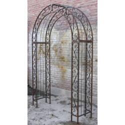 Belle Arche de Jardin Passage Treillis Tuteur Plantes en Métal Marron 50x140x254cm