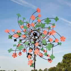 Sublime Eolienne Double Hélices Tuteur Mobile de Jardin en Acier 25x65x200cm