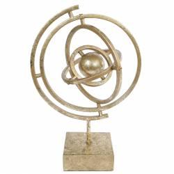 Sculpture Atmosphère Mappemonde Décoratif sur Socle Carré en Métal Doré 17,3x23,5x35,5cm