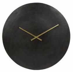 Horloge Moon Pendule Ronde Aiguilles Heures et Minutes en Aluminium Noir 5x38x38cm