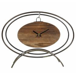 Horloge à Poser Pendule Ovale Suspendue sur Pied en Métal Gris et Bois 11x28x36cm
